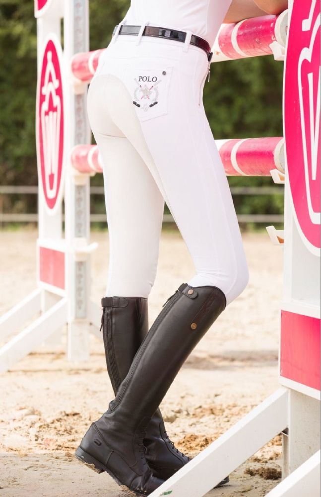 Hkm Polo Collection White Full Seat Breeches